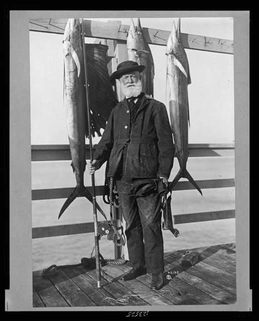 [John D. Crimmins, full-length portrait, standing on pier, holding fishing rod and reel, facing front, with three saltwater fish hanging on railing]