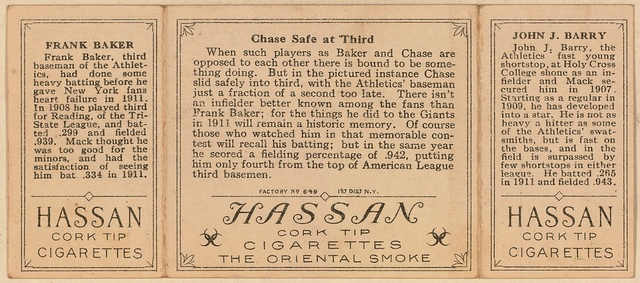 [John J. Barry/Frank Baker, Philadelphia Athletics, baseball card portrait]