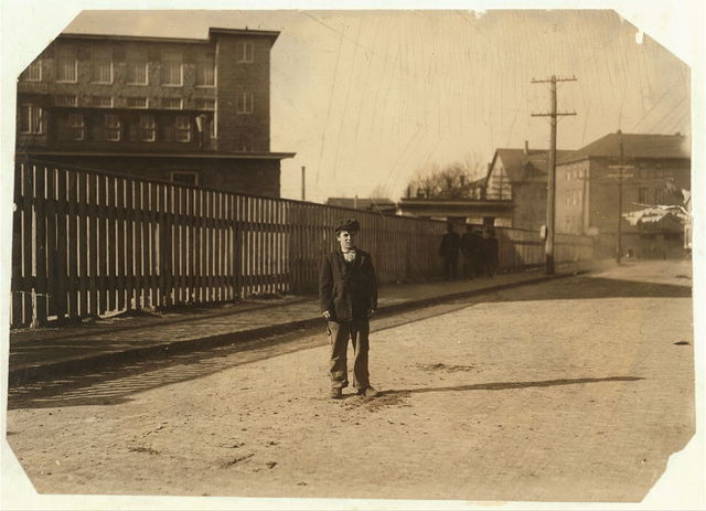 Joseph Lepage, 84 Boutwell St., (apparent[ly] 12 years old). Said he is a sweeper on first floor cotton mill, but I am not sure w[h]ether it is the Flint Mill or not. Location: [Fall River, Massachusetts]