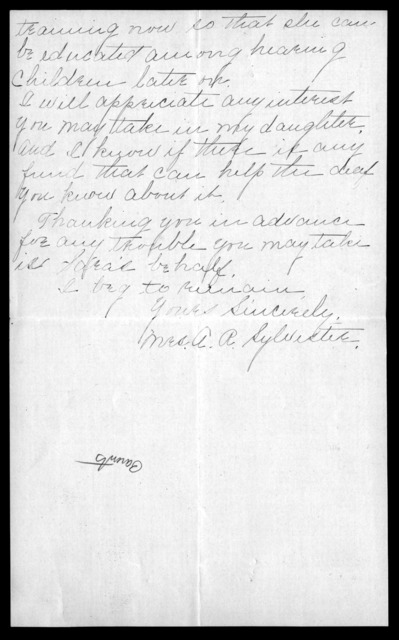 Letter from A. A. Sylvester to Alexander Graham Bell, January 7, 1912
