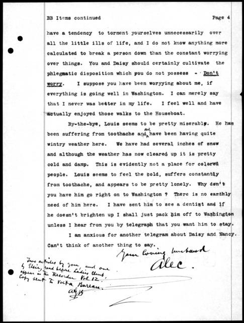 Letter from Alexander Graham Bell to Mabel Hubbard Bell, November 18, 1912
