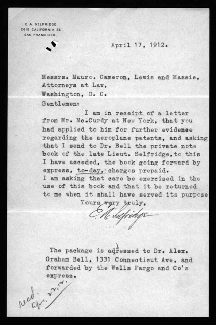 Letter from E.A. Selfridge to Mauro, Cameron, Lewis & Massie, April 17, 1912