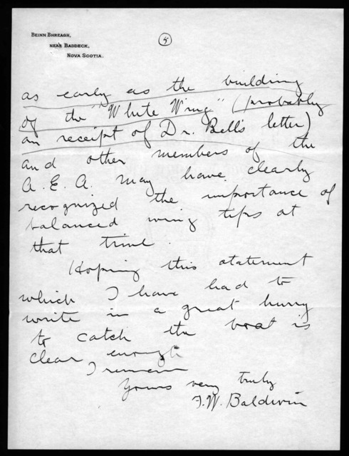 Letter from Frederick W. Baldwin to Mauro, Cameron, Lewis & Massie, May 6, 1912
