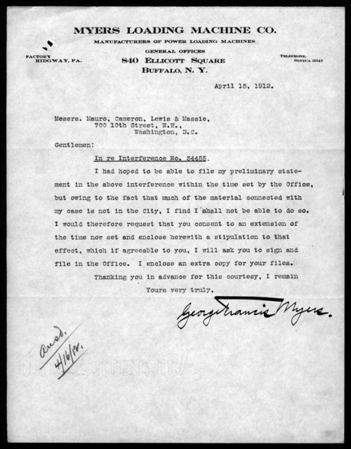 Letter from George F. Myers to Mauro, Cameron, Lewis & Massie, April 15, 1912