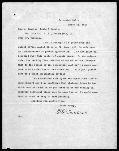 Letter from Glenn H. Curtiss to Mauro, Cameron, Lewis & Massie, March 21, 1912