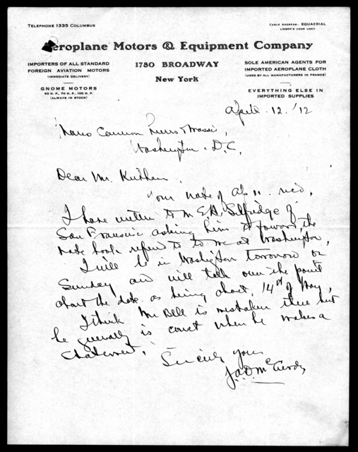 Letter from J. A. D. McCurdy to Mauro, Cameron, Lewis & Massie, April 12, 1912