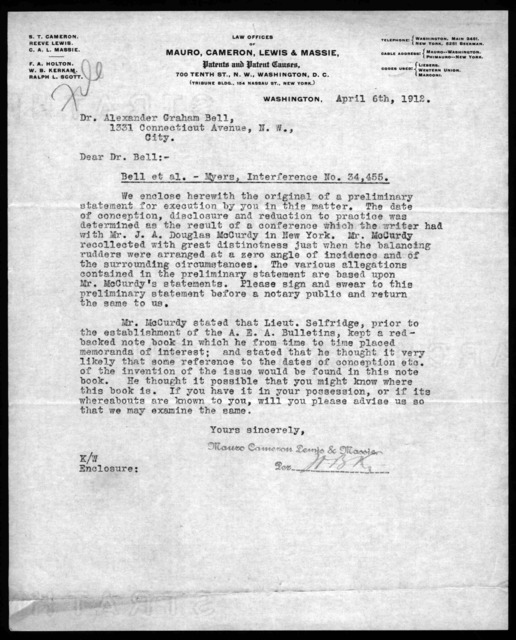 Letter from Mauro, Cameron, Lewis & Massie to Alexander Graham Bell, April 6, 1912