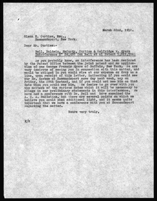 Letter to Glenn H. Curtiss, March 22, 1912