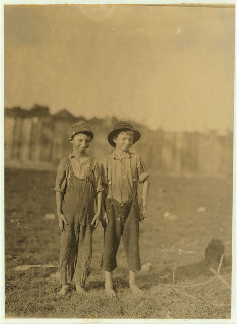 Lewis and Claude have been sweeping and spinning in a S.C. mill several months. Could not write their own names, Stunted and immature apparently below 12 yrs.  Location: [South Carolina]