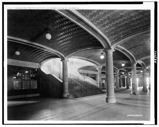 Lobby stairs to waiting room and concourses, C. & N.W. Ry., Chicago, Ill.