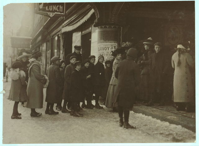 [Long line of boys and men at Vaudeville Show. Saturday P.M.]  Location: [Fall River, Massachusetts].