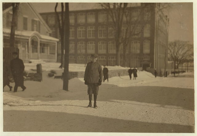 """Many of the smallest ones said, """"Working in these mills."""" Especially #1 Raymond Bradshaw, 88 Engerira St. Works in Manomet Mill; lives with grandmother, works in #2 Card Department. Said, """"I'm goin' on 14, will be 15 next September."""" He appears to be [i.e., have] tubercular tendencies and his sister much more so. Fred Arnold, 478 N. Front St., (smallest boy in #6 Mill). Lives with step-father in comfortable circumstances. Been working in weave room in Nashawena Mill, 1 year.  Location: New Bedford, Massachusetts."""