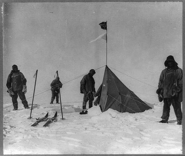 [Members of the Terra Nova expedition at the South Pole: Robert F. Scott, Lawrence Oates, Henry R. Bowers, Edward A. Wilson, and Edgar Evans]