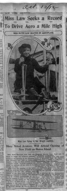 Miss Law Seeks a Record to Drive Aero a Mile High [New York American, 12 October 1912]