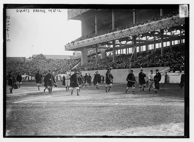 [New York Giants walk onto the field at the Polo Grounds [New York] prior to Game One of the 1912 World Series, October 8, 1912 (baseball)]