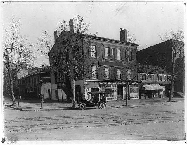[Northeast corner of H and Nineteenth Streets, N.W., Washington, D.C., showing  the West End Stables (formerly Wanstall & Bro. stables), at left]