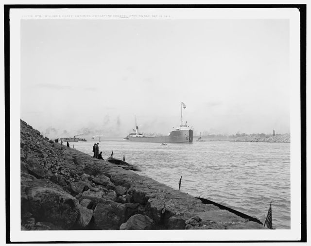 Str. William E. Corey entering Livingstone Channel opening day, Oct. 19, 1912