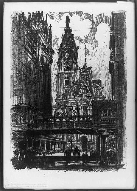 The city hall and bridge across Market Street, Phila. / J. Pennell.