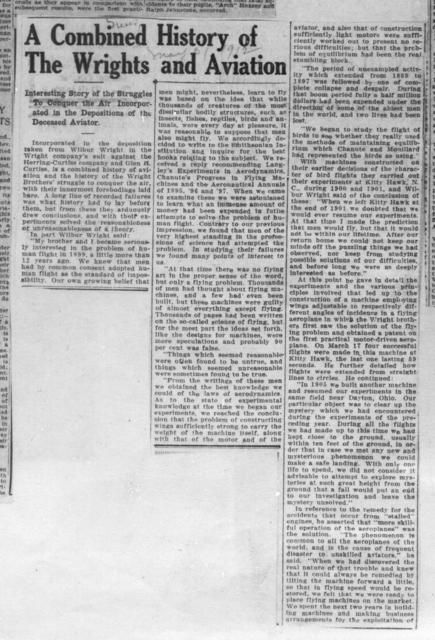 The Combined History of the Wrights and Aviation [News, 31 May 1912]