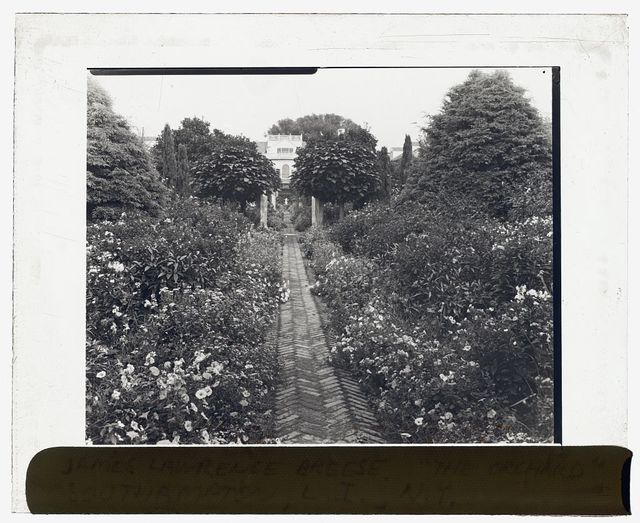 """[""""The Orchard,"""" James Lawrence Breese house, 151 Hill Streeet, Southampton, New York. Pathway to house]"""