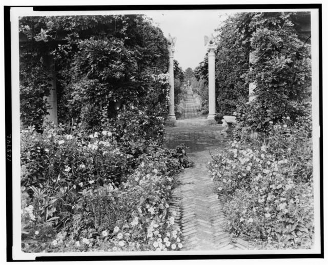 """The Orchard,"" James Lawrence Breese house, 151 Hill Streeet, Southampton, New York. Pathway with eagle columns]"