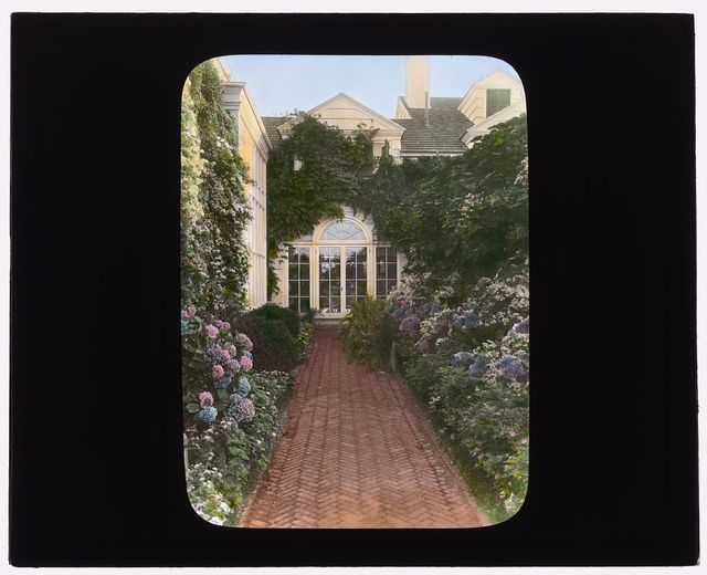 """[""""The Orchard,"""" James Lawrence Breese house, 151 Hill Street, Southampton, New York. Conservatory entrance]"""