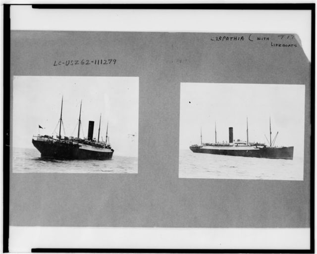 [Two photographs of the Carpathia with Titanic lifeboats]