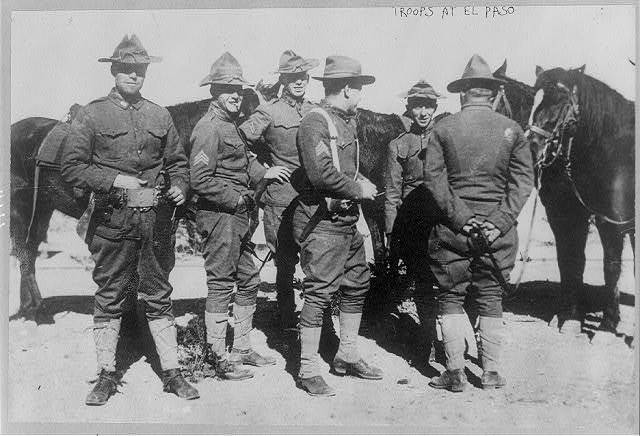 [U.S. Army cavalrymen standing with their mounts. El Paso, Tex., Feb. 1912]
