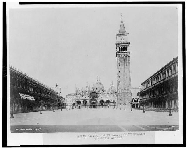 Venice: The Piazza di San Marco, with the cathedral and rebuilt campanile