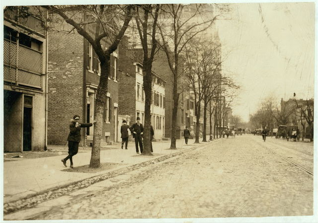 View of Red Light District on C. Street, N.W., near 13th, with Griffin Veatch, who was showing me around. No. 6 Special Messenger Service, 1223 New York Ave., N.W.; he lives 1643 Cramer St., N.E. He said he commenced the messenger service at 11 yrs. old. Has worked all night a couple of years, and now works until 10 P.M. Is known to Truant Officers. Family has had trouble with him. Says he is 17 but doesn't look it. Quite profane, but (apparently) not very wise about this district although he says he goes to these houses occasionally.  Location: Washington (D.C.), District of Columbia.
