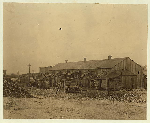 """We give them houses to live in."" About 50 persons housed in this miserable row of dilapidated shacks, located on an old shell-pile, and partly surrounded by a tidal marsh. Maggioni Canning Co.  Location: Port Royal, South Carolina."