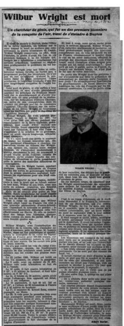 Wilbur Wright est Mort [Albert Surier, Paris Journal, 31 May 1912]