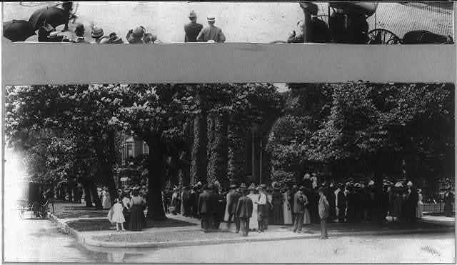 Wilbur Wright funeral - crowds outside 1st Presbyterian church - Dayton