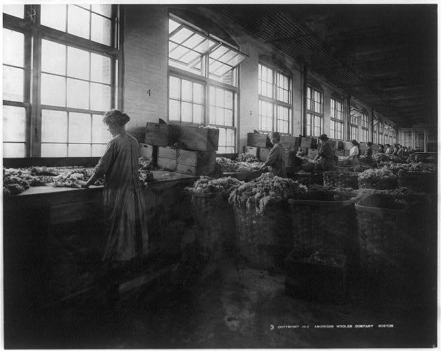 Women sorting wool