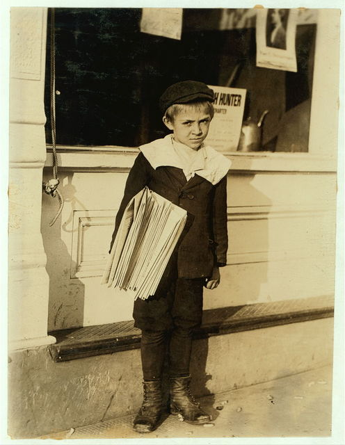 6 year old George Greentree, 315 Dover Street sells for 12 year old brother. Both make $1. a day. George found selling in front of College Inn. Works the pathos game. Stays out often until midnight. Father dead. Mother janitor in church.  Location: Jacksonville, Florida.