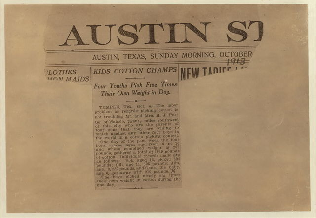 A newspaper clipping of October 1913 about young Texas cotton pickers.  Location: [Texas]