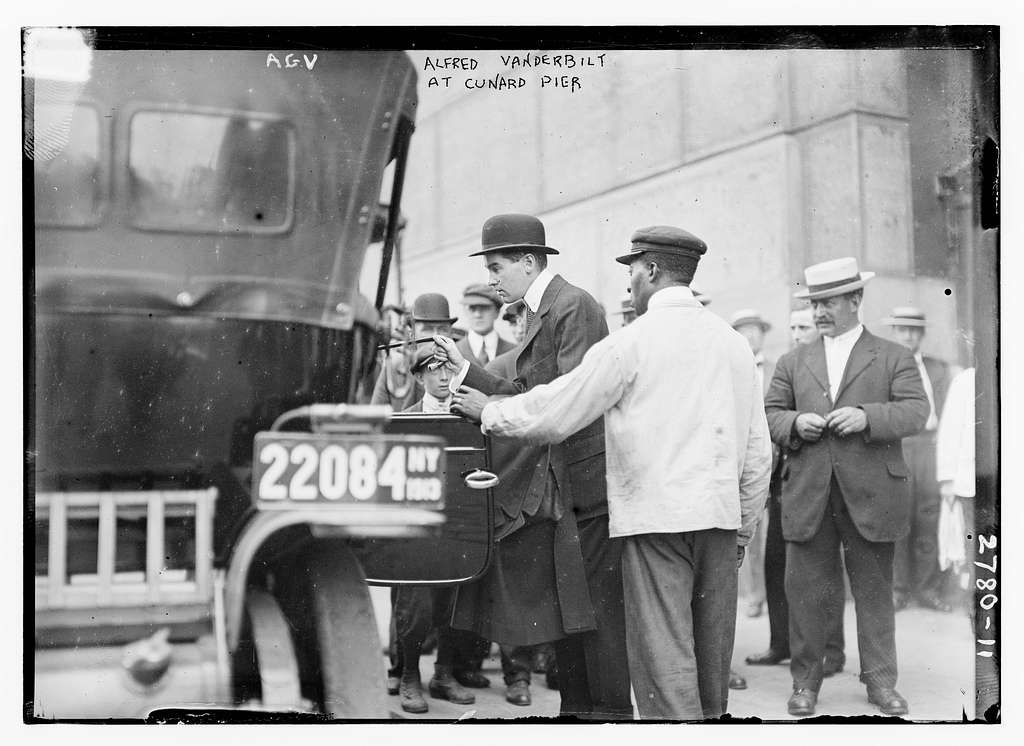 Alfred Vanderbilt at Cunard Pier