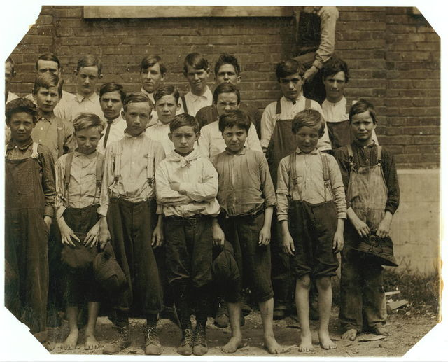 """All are workers in the Rome (Ga.) Hosiery Mill. Two working at 11 y[ea]rs old. Some working here only 9 and 10 y[ea]rs old. The youngest got about $3. a week for turning, knitting or looping. Fifteen year old boys here are making from $6. to $9. a week, """"if they're speedy.""""  Location: Rome, Georgia."""