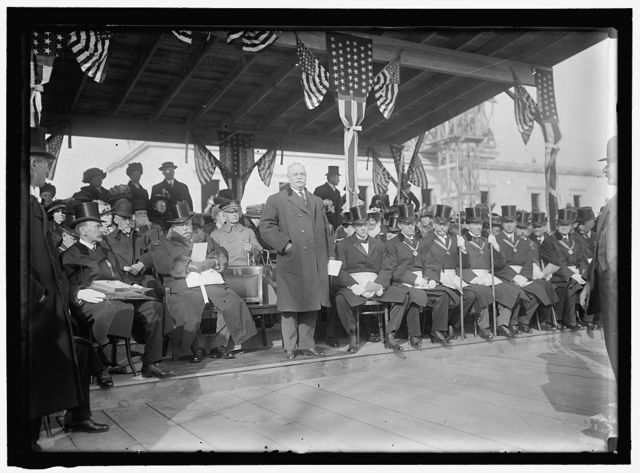 ALL SOULS CHURCH. CEREMONIES AT LAYING OF A CORNERSTONE AT 16TH AND R. CHURCH NOT BUILT THERE, LATER BUILT AT 16TH AND HARVARD ST. DIAG. 2ND AND 3RD FROM LEFT, BERNARD R. GREEN OF LIBRARY OF CONGRESS, AND GEN. A.W. GRELEY; PRESIDENT TAFT; STANDING: SEN. DUNCAN V. FLETCHER; GRAND LODGE OF MASONS