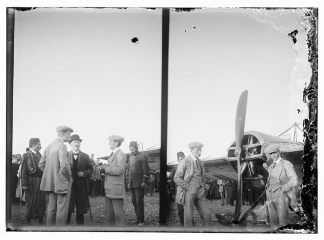 [Arrival of French pilot Marc Bonnier and mechanic Joseph Barnier in a Nieuport airplane, the first aviators to fly into Jerusalem]
