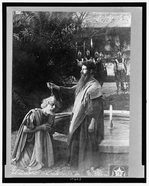 [Baptism scene from the 1913 Italian silent film Quo Vadis?]