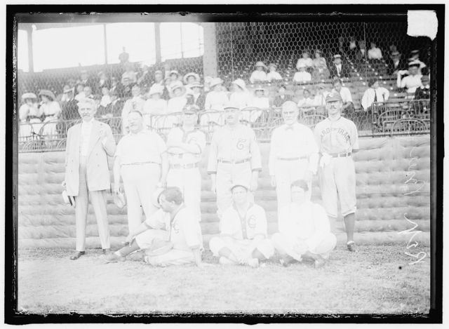 BASEBALL, CONGRESSIONAL. REPUBLICANS. STANDING: BARCHFELD OF PENNSYLVANIA; WINSLOW OF MASSACHUSETTS; DICK AUSTIN OF TENNESSEE; UNIDENTIFIED; J.R. MANN OF ILLINOIS; UNIDENTIFIED. SEATED: KALANIANAOLE OF HAWAII; C.B. MILLER OF MINNESOTA; UNIDENTIFIED
