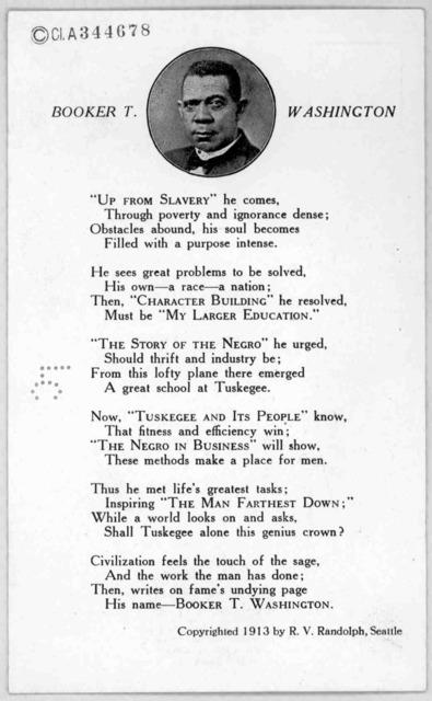 Booker T. Washington. by R. V. Randolph. Seattle, 1913.