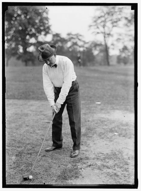 CHAMBRUN, COUNT DE. CAPTAIN, ARTILLERY CORPS; MILITARY ATTACHE, FRENCH EMBASSY. PLAYING GOLF