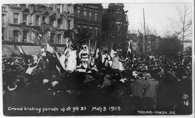 Crowd breaking parade up at 9th St., Mch [i.e. March] 3, 1913 / Taylor, Wash., D.C.