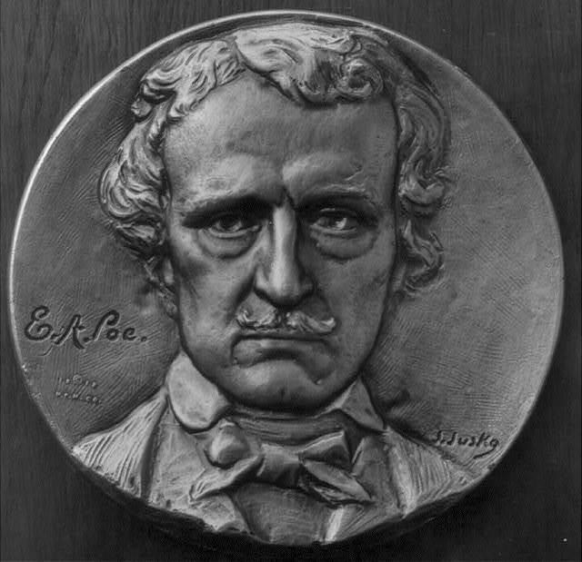 [Edgar Allan Poe, 1809-1849, medallion of bust, facing front]
