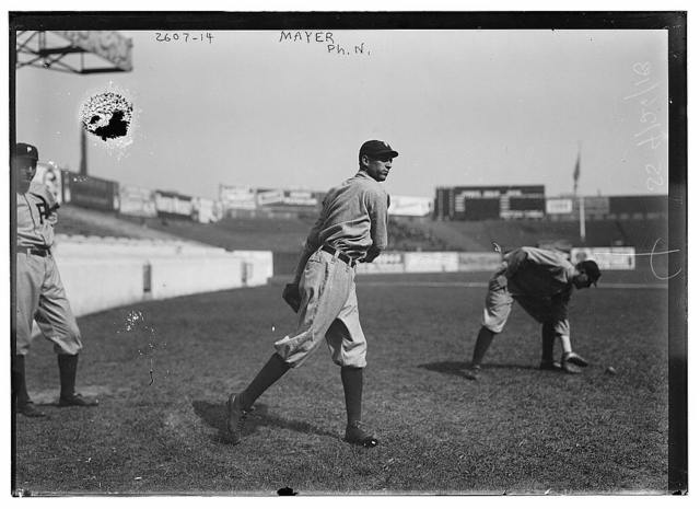 [Eppa Rixey, Philadelphia NL, at left, Erskine Mayer, Philadelphia NL, at center, and unknown player at right at the Polo Grounds, New York