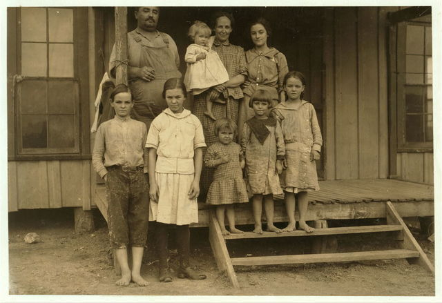 Family of J. W. Lott at West. The father and three oldest children (two of them under legal age) work regularly in the Brazos Valley Cotton Mill. Charlie is thirteen years old. Family Record said he was born March 12, 1900. Mattie is fourteen years old. Family Record says born November 14, 1898. Both of them have been working in a cotton mill at Laurel, Miss., for one year. Been working here for two weeks. Have steady jobs. Get about $1.25 a day. Charlie was put right to work in spite of the fact that he is in very bad shape physically. Probably malaria. The other worker is sixteen.  Location: West, Texas.