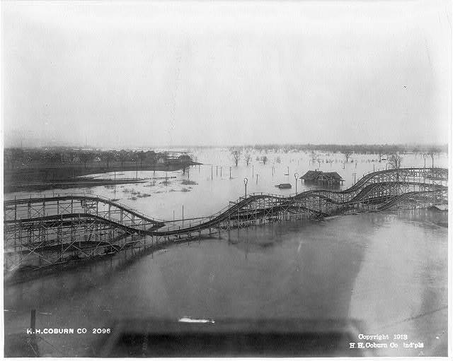 [Flooded roller coaster, probably in Riverside Park, Indianapolis, Indiana]