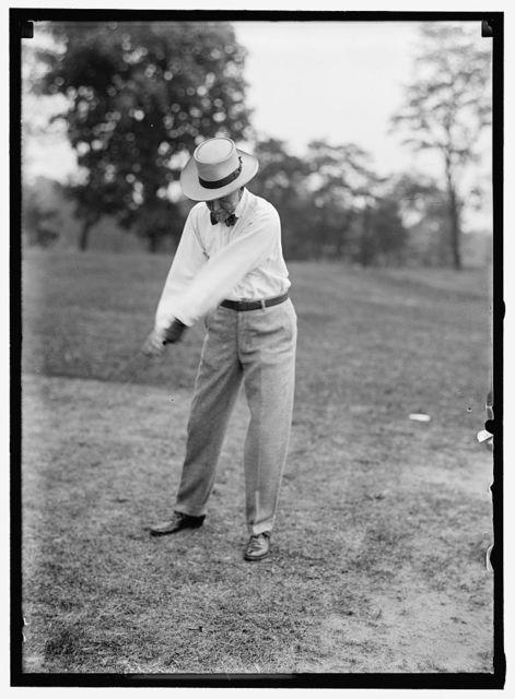 GILLETT, FREDERICK HUNTINGTON. REP. FROM MASSACHUSETTS, 1893-1925; SPEAKER, 66TH, 67TH, 68TH CONGRESSES; SENATOR, 1925-1931. PLAYING GOLF